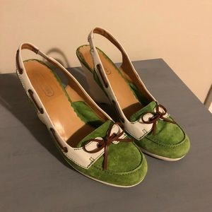 Coach lime green wedges